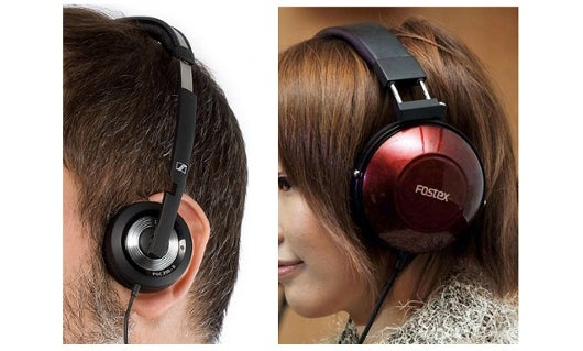 Supra-aural headphones (left) sit on the ear, while circum-aural headphones (right) sit over the ear.