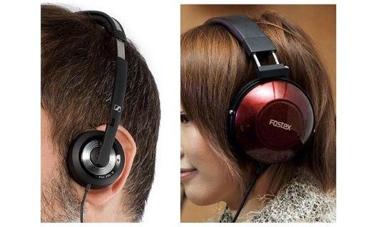 Supra-aural headphones (left) sit on the ear, while circum-aural headphones (right) sit over the ear.